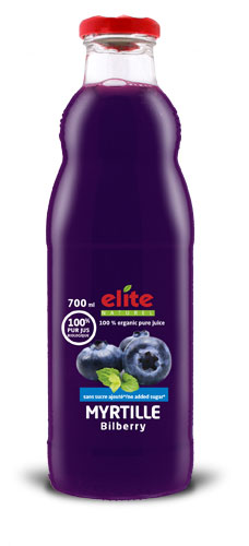 Bouteille 700 ml Elite naturel 100% pur jus bio Myrtille